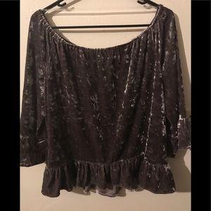 Velvet off shoulder blouse